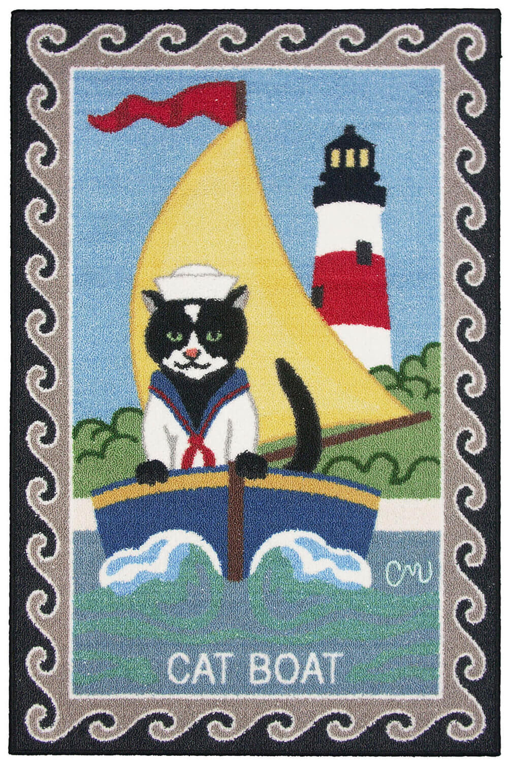Nantucket Cat Boat Washable Runner 1126