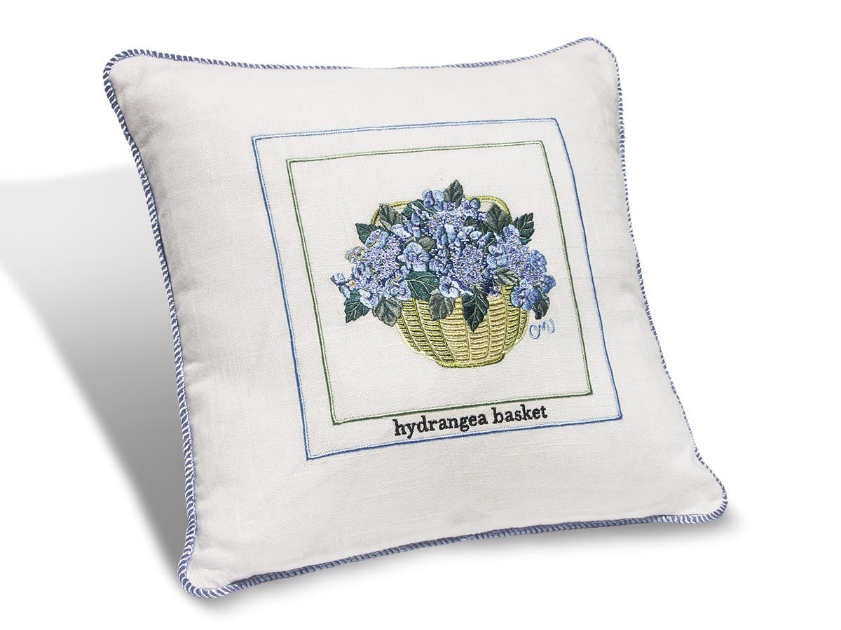 "Hydrangea Basket 14"" Embroidered Pillow PHB14"