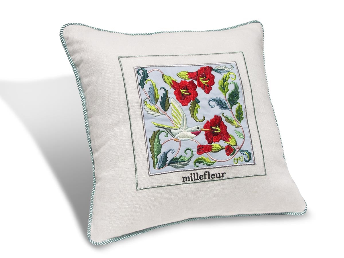 "Millefleur 14"" Embroidered Pillow"