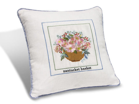 "Nantucket Basket 14"" Embroidered Pillow PNB14"