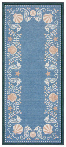 La Mer Blue Washable Runner 1179-Blue