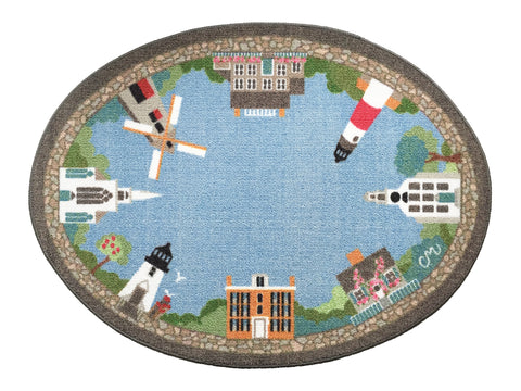 Nantucket Village Oval Washable 1123
