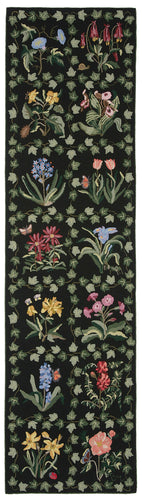 Botanical Grid 10' Runner Black R712LBK