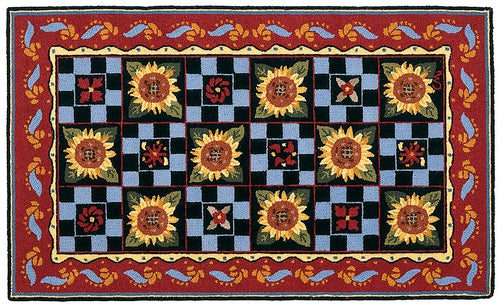 French Sunflower Check 3 x 5 R749DK
