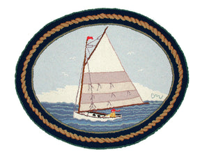 Cape Cod Cat Boat Small Oval R1004a