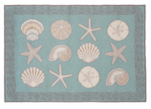 Cape Contemporary Shells w/waves 3 x 5 R1275AQ
