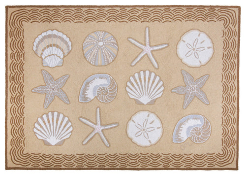 Cape Contemporary Shells w/waves 3 x 5 R1275BG