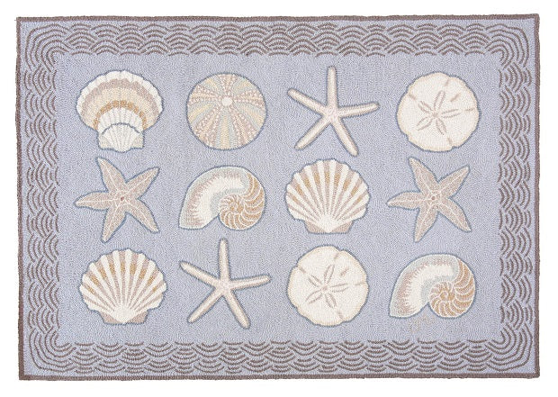 Cape Contemporary Shells w/waves 3 x 5 R1275BL