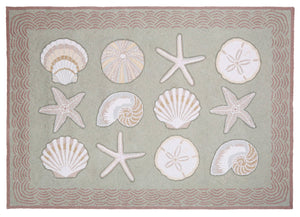 Cape Contemporary Shells w/waves 3 x 5 R1275GR