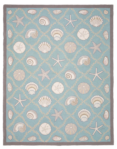 Cape Contemporary Shells Grid Aqua 7 x 9 R1312AQ