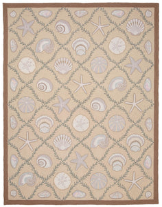 Cape Contemporary Shells Grid Beige 7 x 9 R1312BG