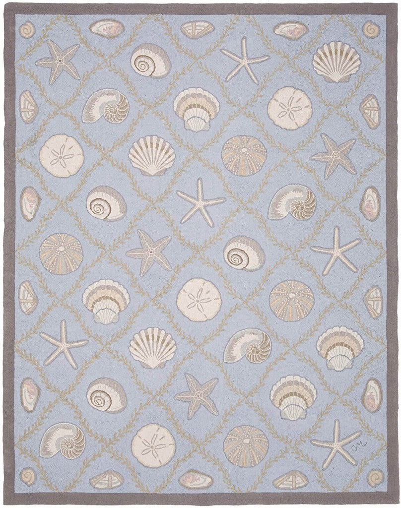 Cape Contemporary Shells Grid Blue 7 x 9 R1312BL