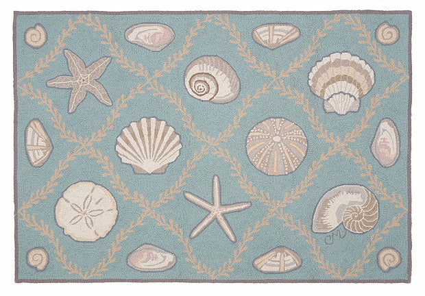 Cape Contemporary Shells Grid 3 x 5 Aqua R1324AQ