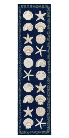 Cape Contemporary Shells with Wave 10' Runner Dark Blue - R1331DKBL
