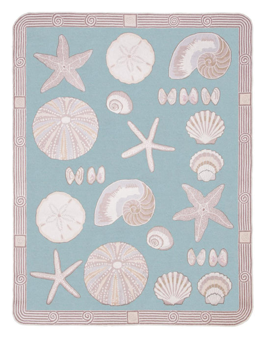 Cape Contemporary Shells Art Deco 7 x 9 Aqua R1325AQ-O