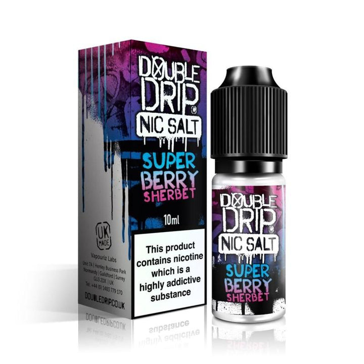 DOUBLE DRIP - 10ML SUPER BERRY SHERBET NIC SALTS - Super E-cig Ltd