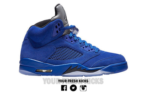 Men's Air Jordan 5 | Blue suede