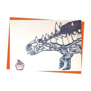 Party Dinosaur with Cake Blank Birthday Card