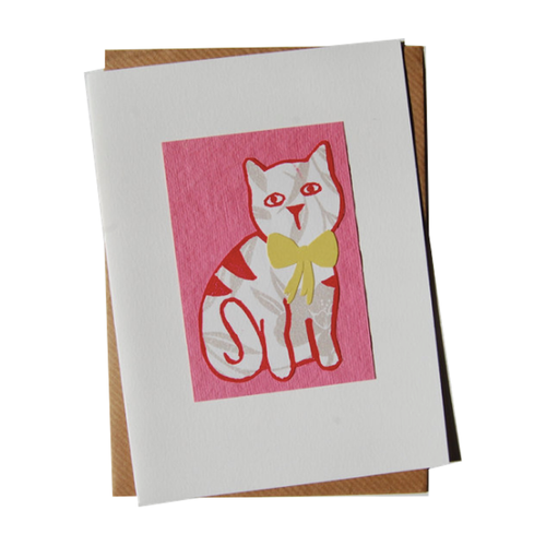 Little Miss Pink Cat Blank Card