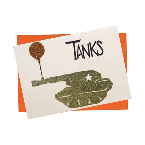 Tanks Glitter Thank You Blank Card