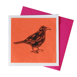 Orange Blackbird All Occasion Blank Card