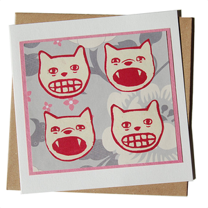 Pink Yowling Cat Heads Blank Card