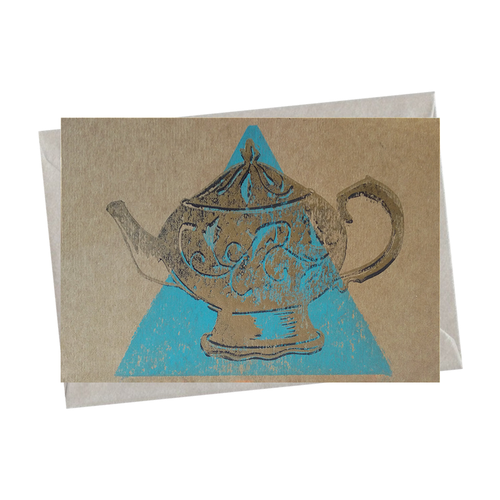 Victorian Antique Gold Teapot Tea Party Blank Card