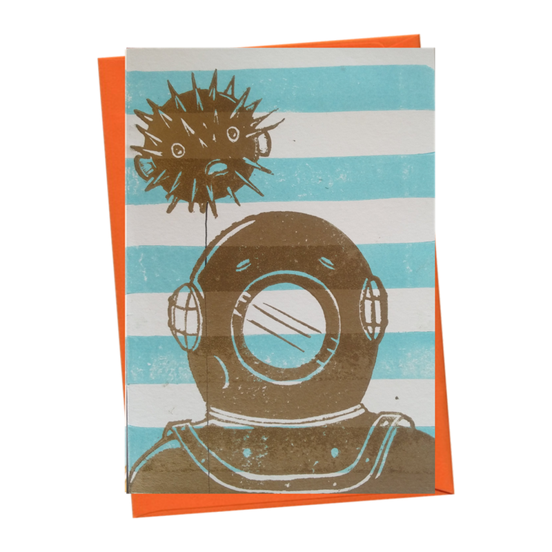 Deep Sea Diver & Puffer Fish Party Balloon Blank Birthday Card