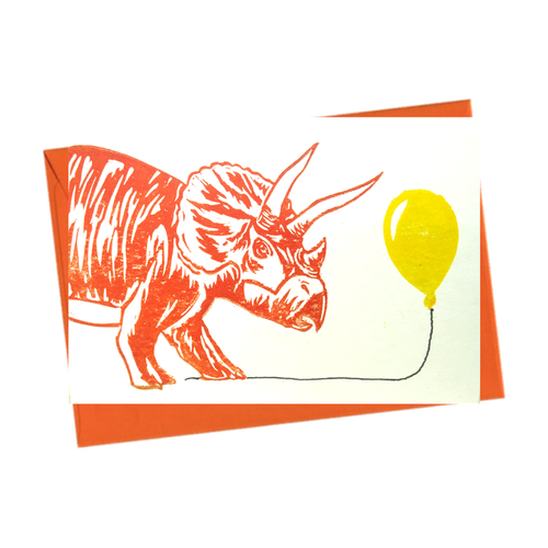 Party Dinosaur Triceratops with Balloon Blank Card