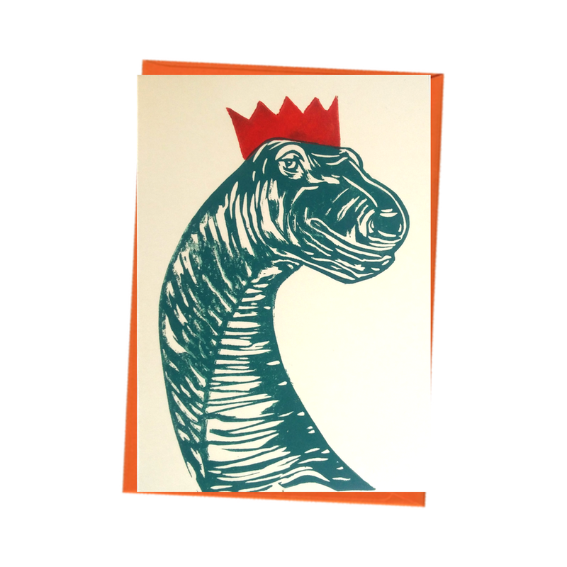 Party Dinosaur Brontosaurus with Hat Blank Birthday Card
