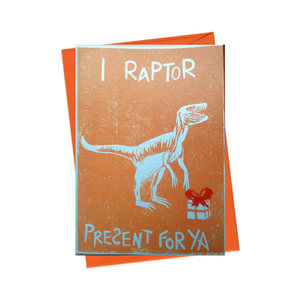 Party Dinosaur 'Raptor Present For Ya' Blank Birthday Card