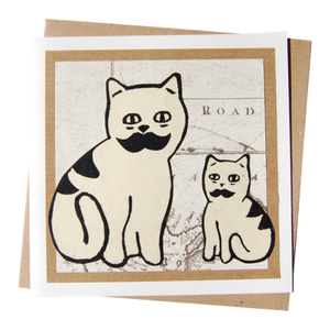 Father & Son Moustache Cats Blank Card