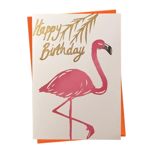 Happy Birthday Tropical Flamingo Blank Card