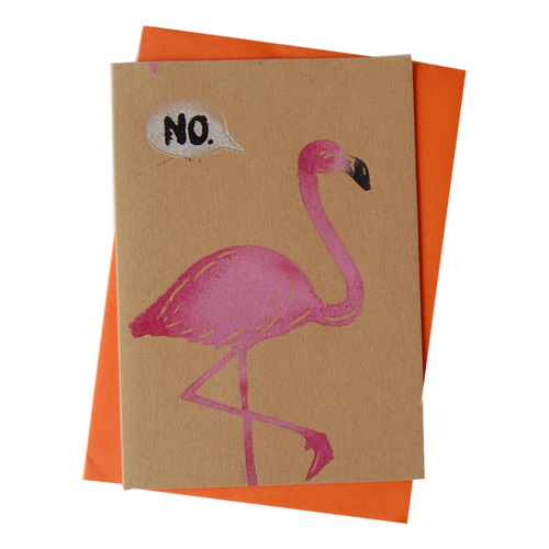 Flamingo NO! Blank Card