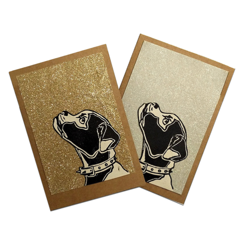 Glitter Bulldogs Blank Cards Set of 2