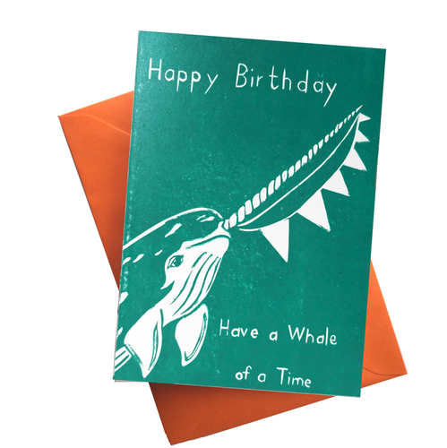 Have a Whale of a Time! Narwhal Underwater Blank Card