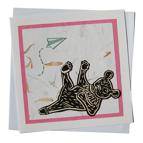 Moon Bear with Paper Plane Blank Card