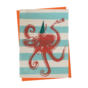 Party Octopus Underwater Blank Birthday Card