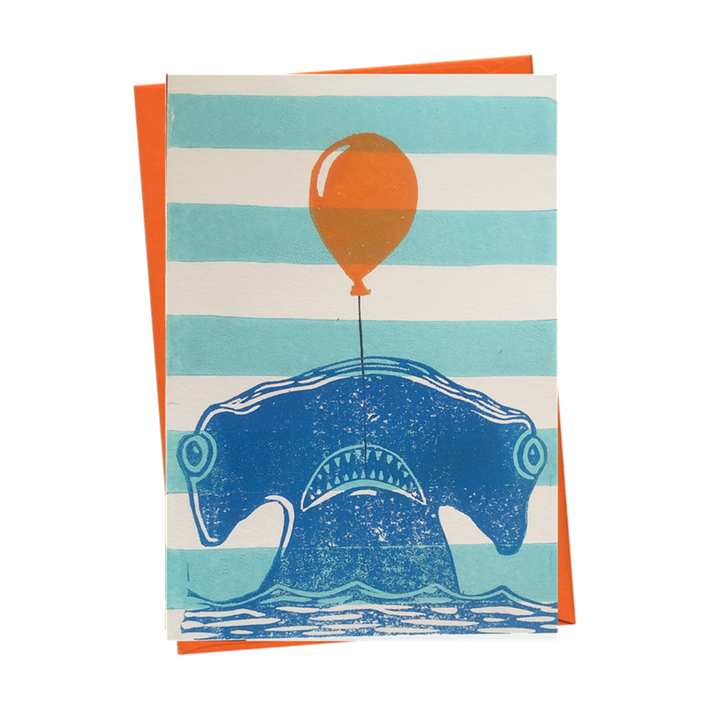 Party Shark Underwater Blank Birthday Card