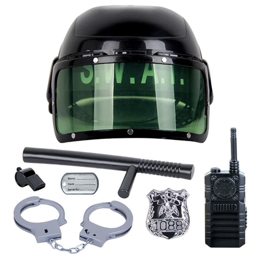 Kids Toys Riot Police Hat Cosplay Kids Helmet Cop Handcuffs Walkie Talkie Badge Pretend Play House Toys for children 7Pcs/set - TonyToyss.com
