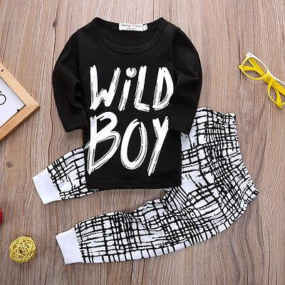 Baby Boy t-shirt+pants Suit Clothing Set Wild Boy - TonyToyss.com