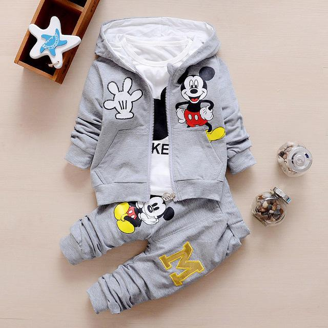 Mickey Mouse Cute Baby Cotton Suits Coat+T Shirt+Pants 3 pc set 3 Designs - TonyToyss.com