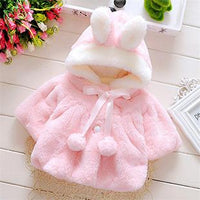 Cute Pink White Baby Girl Princess Coat with Rabbit Ear Hat - TonyToyss.com