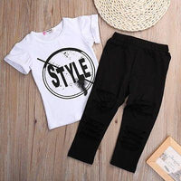 Girl Summer Short Sleeve Print T-Shirt + Hole Pant Leggings 2PCS Outfit - TonyToyss.com