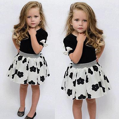 Toddler Girls Princess Party Clothes black T-shirt tops +white flower printed skirt 2pcs Outfits - TonyToyss.com