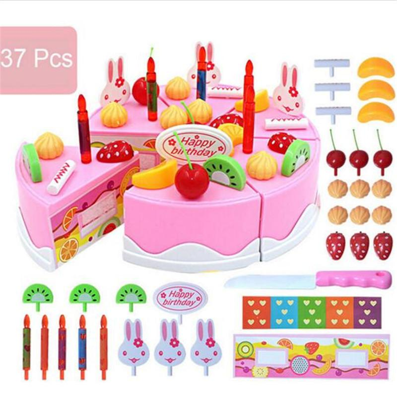 Pretend Role Play Kitchen Toy Happy Birthday Cake Food Cutting Set Kids  37pcs
