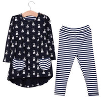 Kids Cartoon Rabbit Printed Pocket Coat Striped Pants 2pieces Children Clothing Sets - TonyToyss.com
