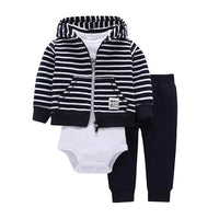 Cotton Hooded Baby Cardigan+Trousers+Body 3 Piece Set 21 Designs - TonyToyss.com