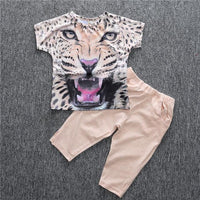 Summer Girls Clothing Sets Cotton Leopard Print Short-Sleeve T-shirt + Pants - TonyToyss.com