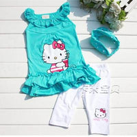 Baby Girls Hello Kitty Suits 3Pcs Sets Headband+Dress+Pants - TonyToyss.com